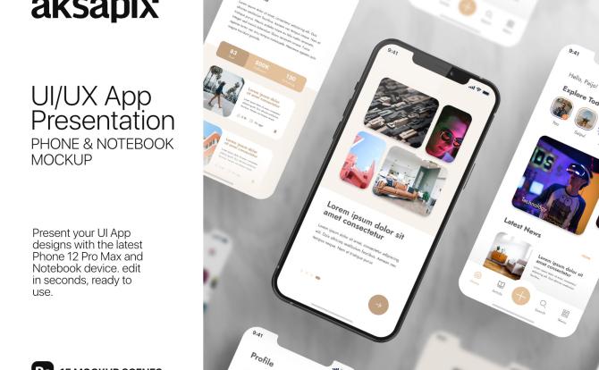 15个不同视角的iPhone&MacBook Pro场景设计样机UI_UX App Presentation – Phone & Notebook Mockup