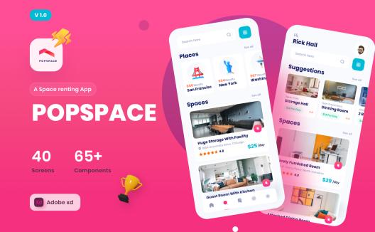 iOS办公室空间场景租赁应用 UI 套件 Popspace A space renting app