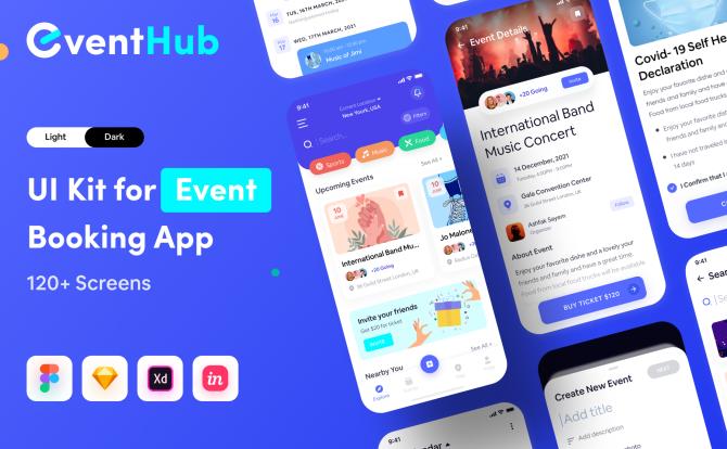 浅色和深色活动组织预订管理应用程序APP ui套件 EventHub UI Kit