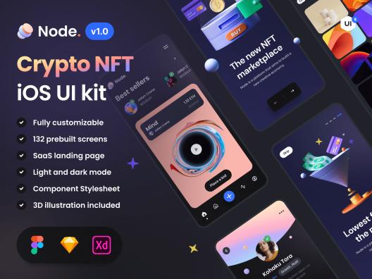 深色系NFT加密市场iOS应用程序APP UI套件Node – Crypto NFT iOS UI Kit