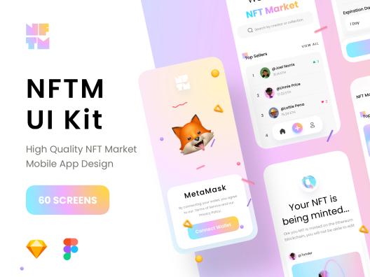 极简主义浅色深色NFT加密交易市场应用程序APP NFT Market UI Kit