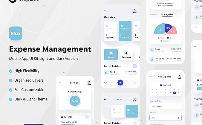 浅色和深色银行金融费用账单管理应用程序Flux – Expense Management UI Kit