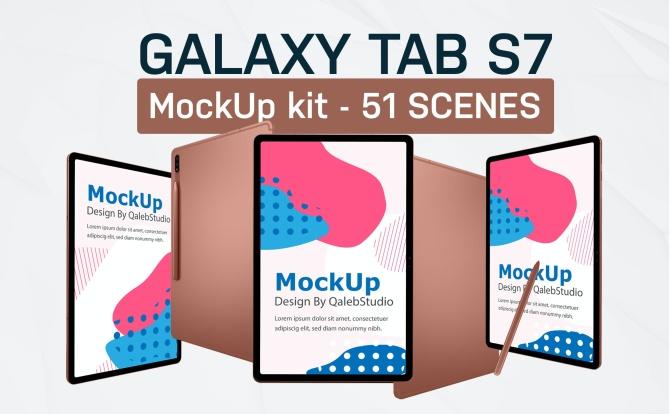 三星Galaxy Tab S7平板电脑设计样机智能贴图galaxy-tab-s7-kit