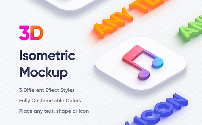 3D等距立体Logo图标设计样机 Isometric 3D Mockups