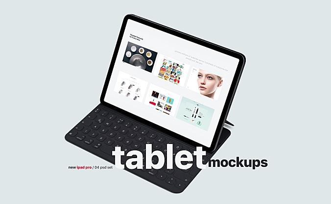 带键盘iPad屏幕展示设计样机模板智能贴图iPad tablet-mockups