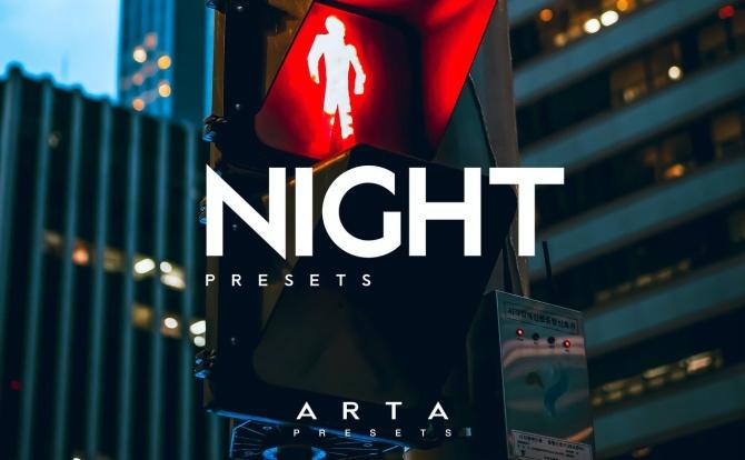 夜间城市街景高级冷色系LR调色预设文件arta-night-presets-for-mobile-and-desktop