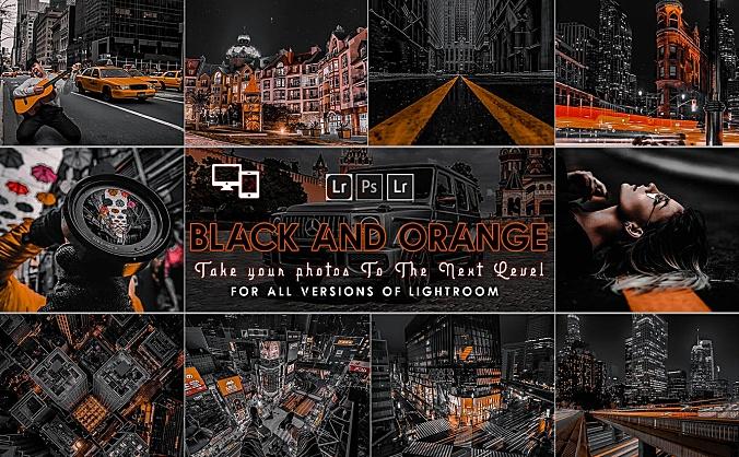 城市夜景高级黑金质感LR调色滤镜预设文件 urban-black-and-orange-presets