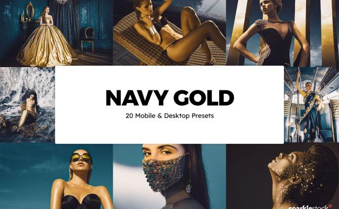 20种黑金海军蓝高端色调LR软件调色滤镜文件 20-navy-gold-lightroom-presets-luts