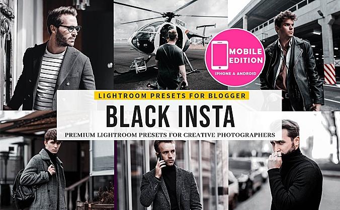 人物暗黑色系质感LR软件滤镜调色预设文件 black-insta-lightroom-presets