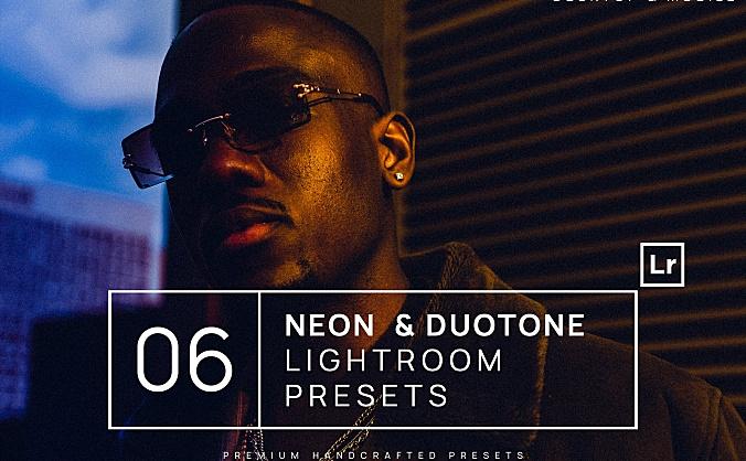 双色调效果6种霓虹灯6LR软件调色滤镜文件-neon-duotone-lightroom-presets-mobile