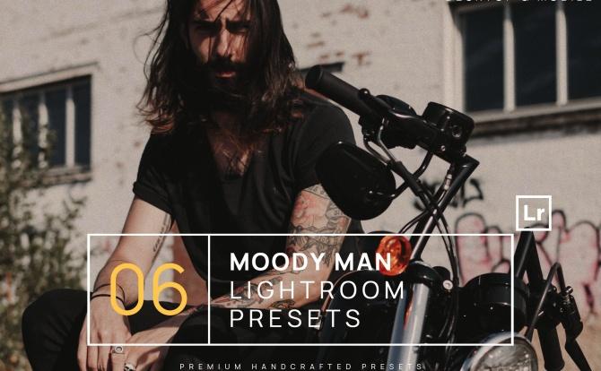 6种复古深色系胶片质感LR软件滤镜预设文件 6-moody-man-portrait-lightroom-presets-mobile