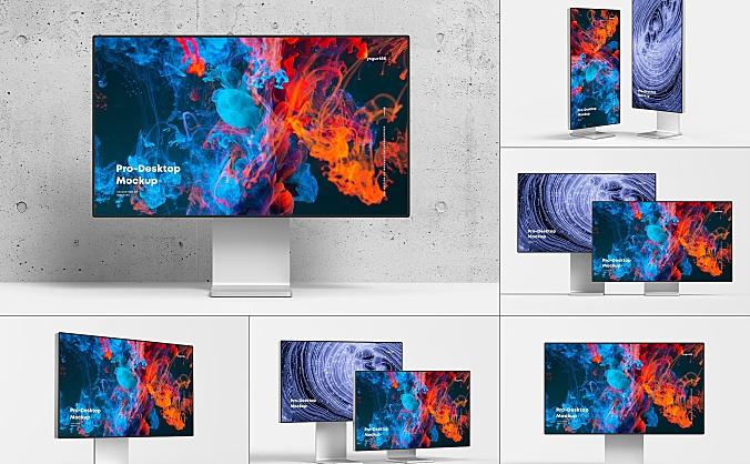 苹果6KPro XDR 显示器屏幕设计样机素材pro-xdr-6k-desktop-mock-up