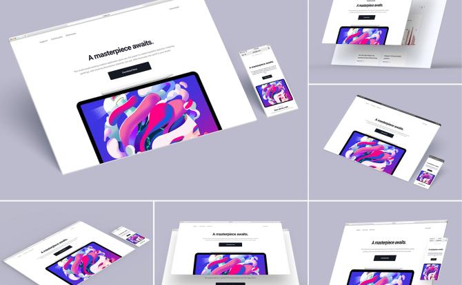 极简响应式设计3D网站浏览器样机Website Browser Mockup