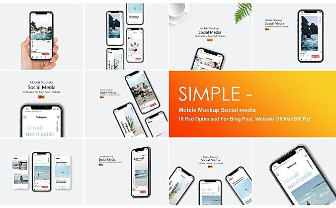 极简主义社交软件媒体帖子展示手机样机模板simple-mobile-mockup-social-media
