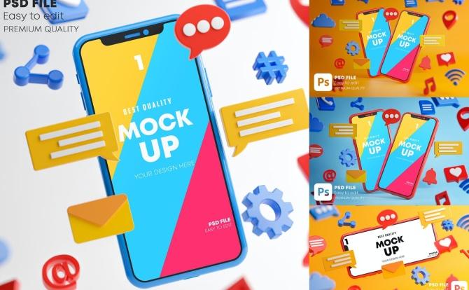 社交媒体图标元素iPhone手机设计样机social-media-icons-smartphone-mockup