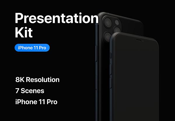 暗黑色系磨砂质感iPhone 11 Pro设计样机 Presentation Kit iPhone 11 Pro