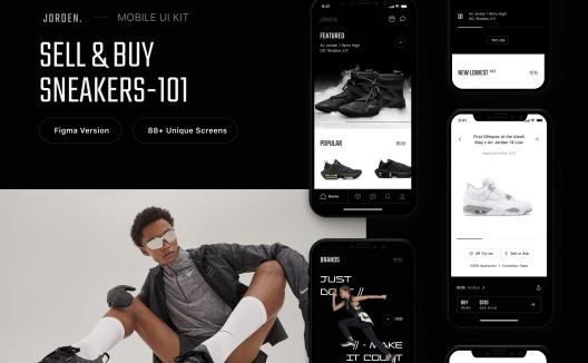 电子商务网络商城平台运动鞋App UI套件 Jorden Sell & Buy Sneakers UI Kit