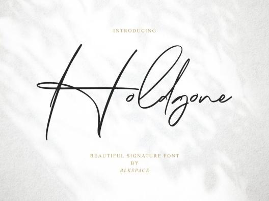 钢笔手写连笔签名英文字体素材 Holdgone Font