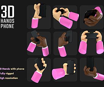 卡通3D手持iPhone插图c4d源文件素材3D hands iPhone