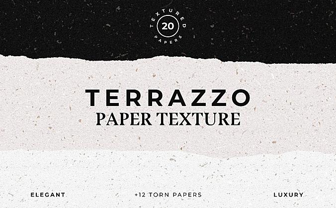 磨石纹理磨砂质感纸张背景素材terrazzo-textured-paper-bundle