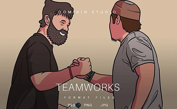 团队合作握手插画&封面背景素材 Teamworks Illustration