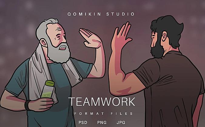 团队合作击掌插画&封面背景素材 Teamwork Illustration