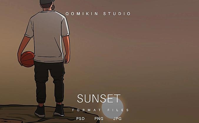 篮球男子日落插画&封面背景素材 Sunset Illustration