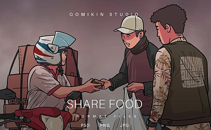 分享食物插画&封面背景素材 Share Food Illustration