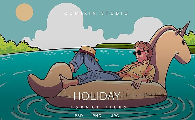 旅行假期插画&封面背景素材 Holiday Illustration
