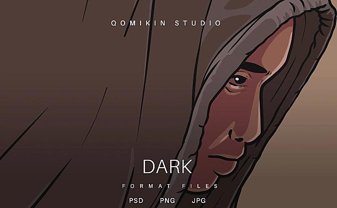 黑暗男孩插画&封面背景素材 Dark Illustration