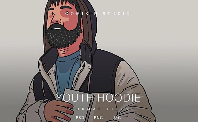 青年连帽衫插画&封面背景素材 Youth Hoodie Illustration