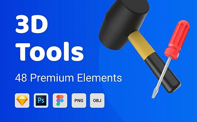 48个家庭常用五金工具3D素材 3D Tools