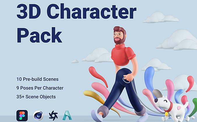 Figma卡通Q版3D不同人物角色素材包 3D Character Pack