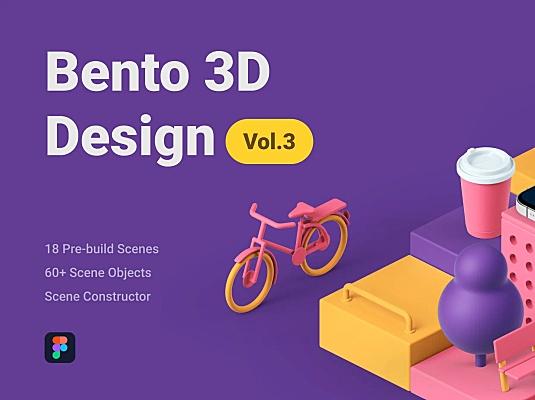 拖放式3D元素样机场景创建器 Bento 3D Design Vol 3
