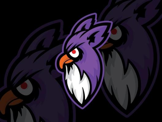 紫色电子竞技战队头像猫头鹰Logo设计模板 purple-owl