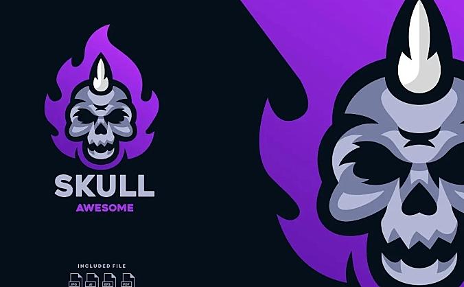 骷髅电子竞技标志Logo设计模板 Skull E-Sport Logo Design Template
