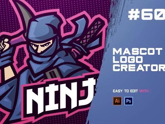 蓝色忍者电子竞技Logo设计模板 NINJA – E-Sports Logo Creator