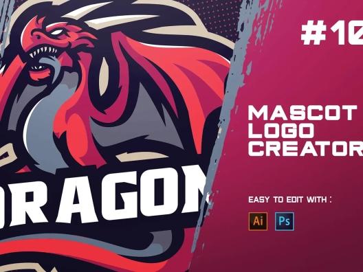 翼龙电子竞技Logo设计模板 DRAGON – E-Sports Logo Creator