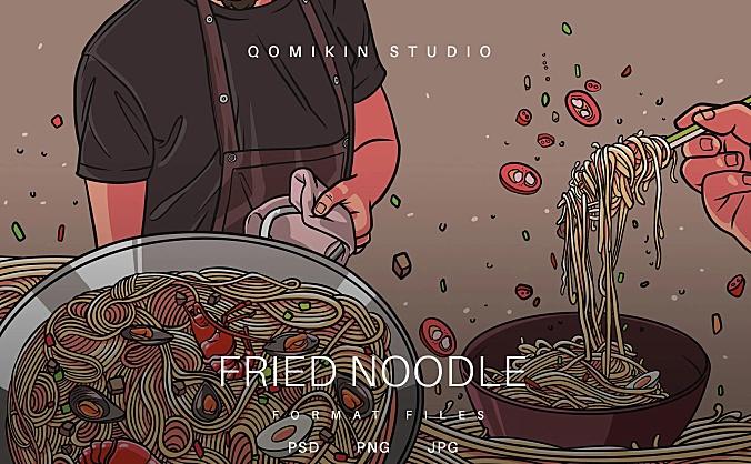 炒面插画&封面背景素材 Fried Noodle Illustration
