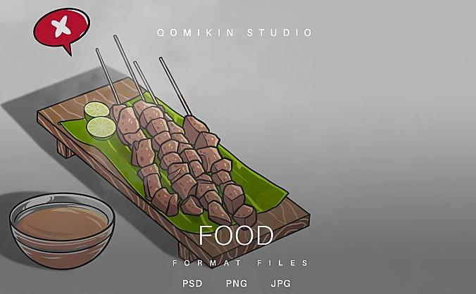 烧烤美食插画&封面背景素材 Food Illustration