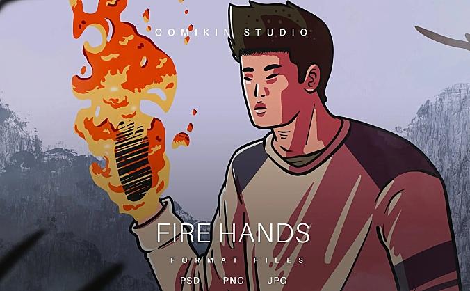 火焰手掌插画&封面背景素材 Fire Hands Illustration