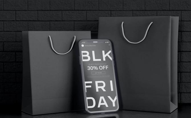 黑色星期五iPhone手机屏幕内容展示设计样机 black-friday-smartphone-mockup