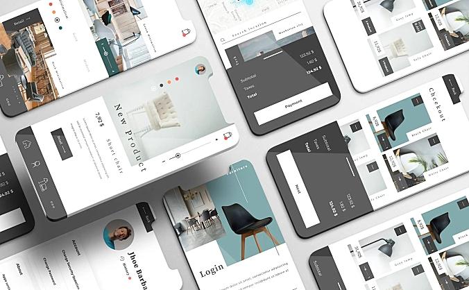 电商家具交易平台APP设计套件funirra-ui-kit-furniture-stores-apps