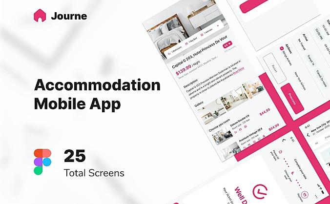 旅游出行住宿app应用程序UI界面journe-accommodation-mobile-ui-kit-figma