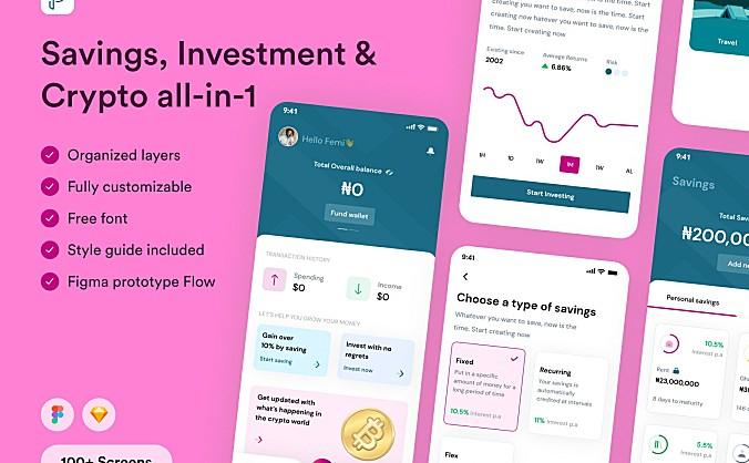 金融加密货币交易平台App应用UI套件 Pamoja Finance UI Kit