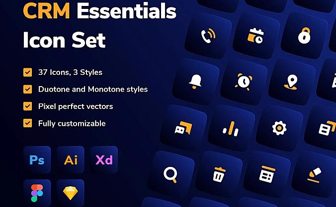 CRM设计必备icon图标合集 CRM Essentials Icon Set