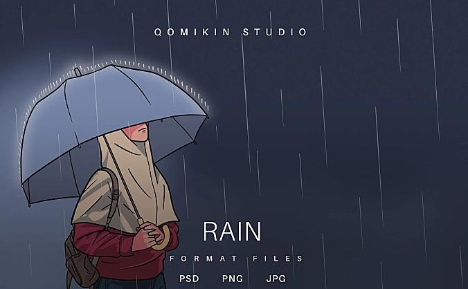 撑伞下雨插画&封面背景素材 Rain Illustration