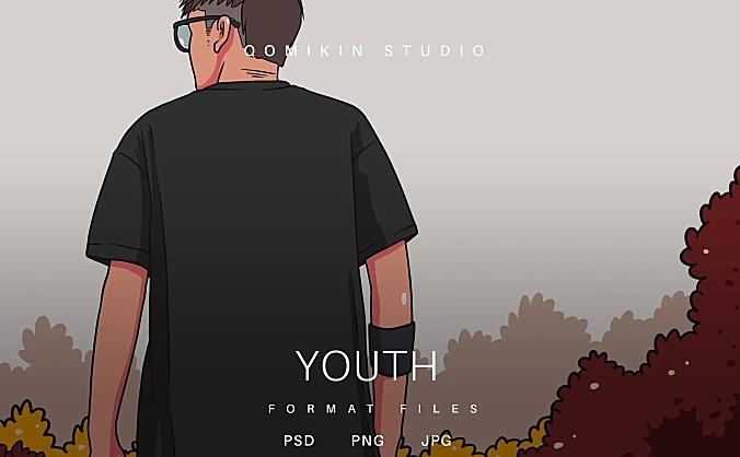 青年背影插画&封面背景素材 Youth Illustration
