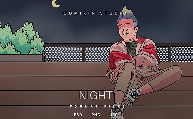 夜晚场景男子插画&封面背景素材 Night Illustration
