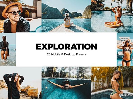 20款LR预设蓝色海洋旅行照片调色软件+LUT预设20-exploration-lightroom-presets-luts